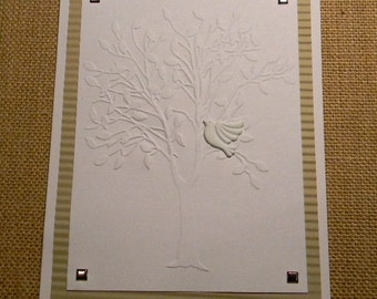 Embossed Sympathy Greeting Card, Condolence Card, With Sympathy Card, Handmade Greeting Cards