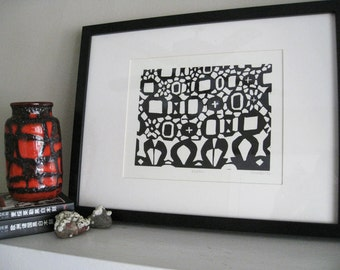 BRAZIL - Lino Print -  Abstract Pattern Print - Black & White Geometric Design 8x10 Print - Ready to Ship