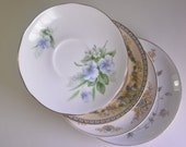 Mixed Pattern Cake Plates Saucers, Set of 4 in Green, Blue, Floral Cupid Violet Periwinkle, Wedding Shower Mismatch China Mad Hatter (#G238)