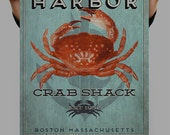 Boston Harbor Crab Shack Sign, Hand drawn, Typography, Original watercolor Painting, Digital Art Download Print or Poster