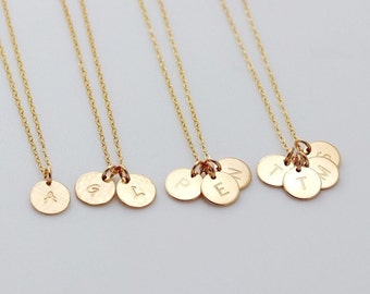 Custom Gold Charm Initial Necklace, Family Monogram Necklace, Mothers Jewelry, Disc Necklace, Bridesmaid Gift, Silver Pendant Necklace