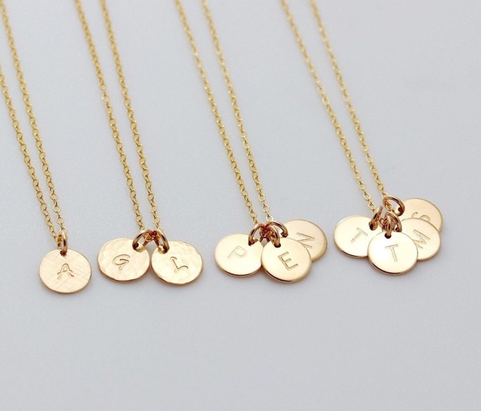 custom gold charm initial necklace family monogram necklace