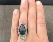 Ruby in ziosite and faceted peridot statement ring - Made in your size