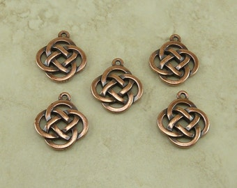 5 TierraCast Open Round Celtic Knot Pendant Charm > Irish St Patrick's Day - Lead Free Copper Plated Pewter - I ship internationally 7505