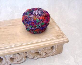Rainbow Multicolor Basket - Handmade Silk Sari Tapestry Basket with Purple Flower - Unique HouseWarming Shelf Decor Basket for Her STB014