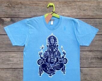 Ganesh handmade elephant, men t shirt meditation t shirt, batik clothing, mens clothing, hand dyed light blue, hand drawn, Gift for him 3xl