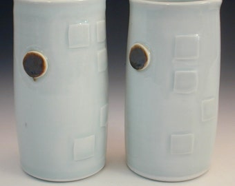 Handmade Tumblers Wheelthrown Porcelain Pottery PAIR Cups Tonic Tumblers Glasses