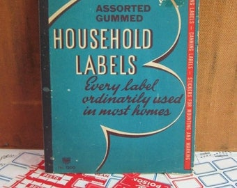 Vintage Assorted Gummed Book of Household Labels