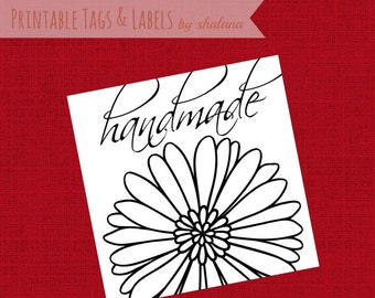"""Printable PDF """"Handmade"""" Tag or Sticker for Craft Show Product Labels - cute black and white tags that you can print on your choice of paper"""