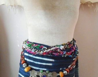 Berber Dancer Belt or Necklace: primitive, rustic, gypsy style, adjustable