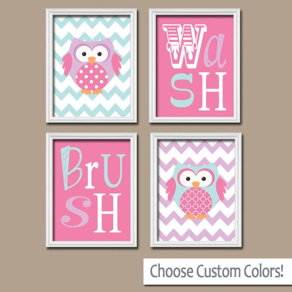 Owl bathroom canvas or prints owl theme bathroom pink wash - Owl themed bathroom decor ...