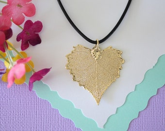 Gold Leaf Necklace, Real Leaf, Cottonwood Leaf Pendant, Gold Heart Shaped Leaf Necklace, Real Leaf Necklace, 24kt Gold Dipped Leaf, LL100