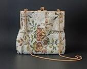 vintage 1950s beaded evening bag / 50s white beaded purse handbag / tapestry handbag
