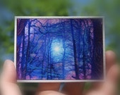 Winter sunrise, aceo, original, purple art, little gifts, Gifts under 15, tree art, winter aceo, #aceo original #nature photography