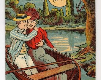 Romantic Couple In Canoe Postcard - Full Moon