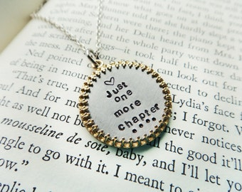 Book Lover Bookworm Pendant-Metal Book Reader Librarian Jewelry- Just One More Chapter Reading Pendant- Bilbiophile Stamped Framed  Necklace