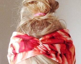 TopTwist Headband - Turban Headband - Jersey Stretch Fabric - Floral Headband Headwrap  - Roses