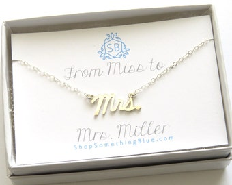 New Bride Gift • Mrs. Script Necklace • Custom Married Name Card • Cursive Mrs Word Jewelry • Bridal Shower Gift • Honeymoon Surprise