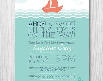 COLOR OPTIONS Nautical Sail Boat Baby Shower Invitation, For a Boy or Girl, Digital File, Printable, by Paper Squid - Item 159
