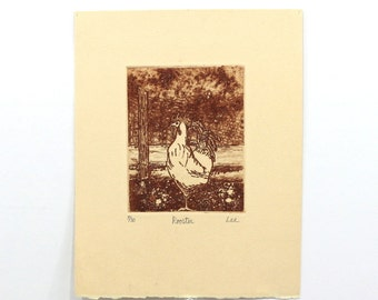 1960s Rooster Woodblock Print | Signed by the Artist | Numbered Print