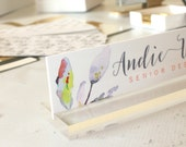 """Personalized Desk Nameplate """"Andie"""" - Custom Name Plate Sign Decor - Office Accessories - Modern Office Supplies"""