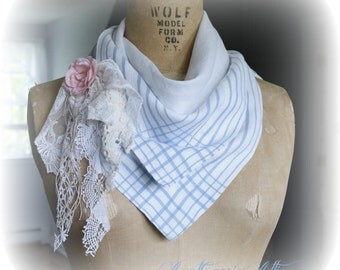 Linen Bandana Scarf Pale Blue and White Repurposed Soft Linen Lined Infinity Scarf