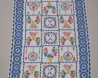 Vintage Towel Time to Garden Blue Clocks & Pots