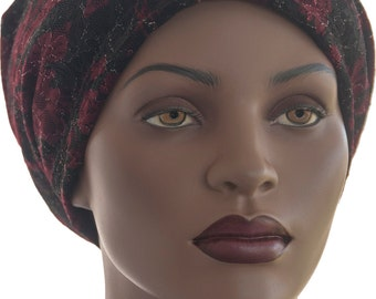 Lace Snood Hat Pretied Black Burgundy Head Covering Chemo Cap