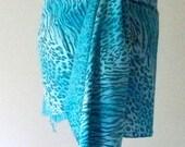 Turquoise Beach Sarong, Animal Print, Beach Cover-up, Short Pareo, Long Summer Scarf, Rayon Shawl