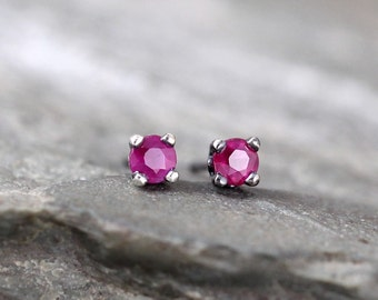 Ruby Earrings - Sterling Silver Stud Earring - 3 mm Ruby - Rustic - July Birthstone - Red Gemstone Earrings - Jewelry Made in Canada