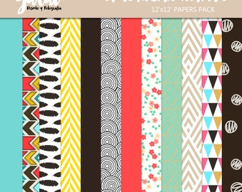 AMERICAN NATIVE Scrapbook Papers, Instant Download, 12 Digital Paper Pack. 12'x12' pattern prints, Background
