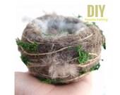 Nest Needle Felting Kit Beginner - Hummingbird Nest Kit - Wool Starter Kit - Tools Needles - Spring Nest Kit - DIY Craft Kit - Felt Tutorial
