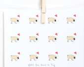 Pug in Love Stickers - Set of 20+ Stickers - Pug Stickers - Pug Envelope Seals