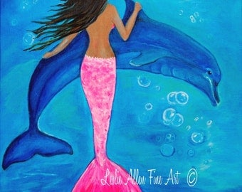 "Mermaid Painting Mermaid Art Dolphin Painting Mermaid Theme  Mermaid Decor ""Bubbly Fun""  Leslie Allen Fine Art Mermaid"
