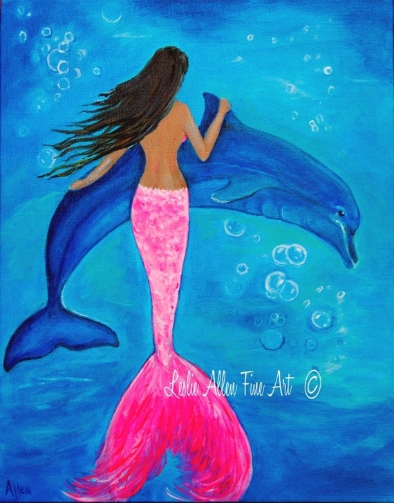 Mermaid Painting Mermaid Art Dolphin by LeslieAllenFineArt ...