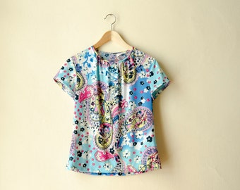 Paisley Top with Sleeves, Retro Paisley Floral Print Tshirt Blue or Green Jersey Shirt