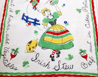 Linen Towel Irish Stew Recipe Retro Kitchen