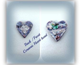 heart bead, handmade bead, rustic bead, pendant bead,blue bead,  # 120