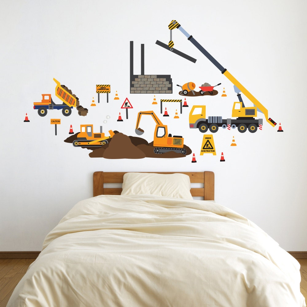 Wall decals construction site trucks construction vehicles for Construction site wall mural