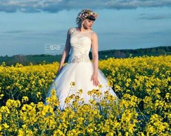 Summer Wedding hair accessories Rainbow Flower Crown -AmoreBride- Sunflower Hair Wreath Bridal party garland pink yellow Halo Destination