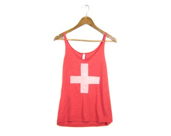 Swiss Cross Tank - Oversized Scoop Neck Strappy Swing Tank Top in Heather Red and White - Women's S-2XL Q