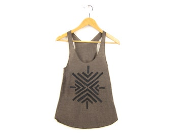 Sight Tank - Racerback Scoop Neck Swing Tank Top in Heather Brown and Black - Women's Size XS-4XL