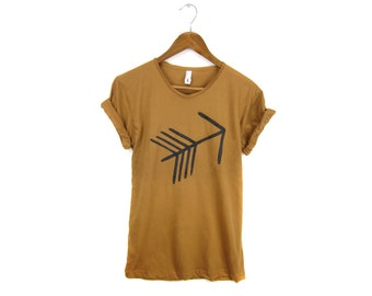 Tribal Arrow Tee - Boyfriend Fit Scoop Neck Tshirt with Rolled Cuffs in Rust and Black - Women's Size S-4XL