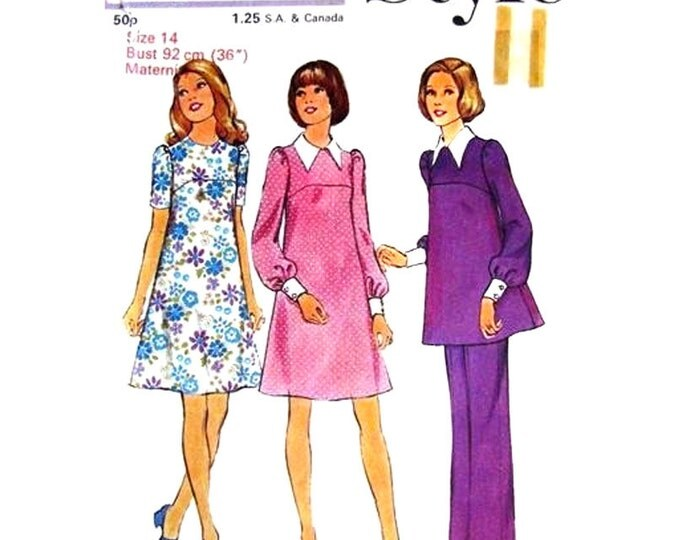 Maternity Sewing Pattern Dress Tunic Pants Style 4145 Long Sleeve Top Trousers Bust 36