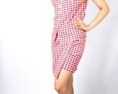 Vintage 90s Red White GINGHAM Plaid Picnic Playsuit Skort Vest Set // Vintage Two Piece Set (sz S M 2 4)
