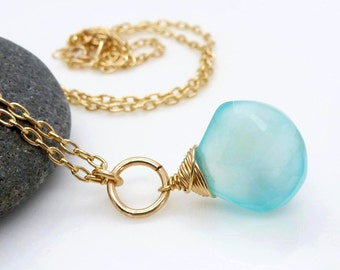 Gold aqua chalcedony necklace, wire wrapped aqua blue pendant, chalcedony jewelry