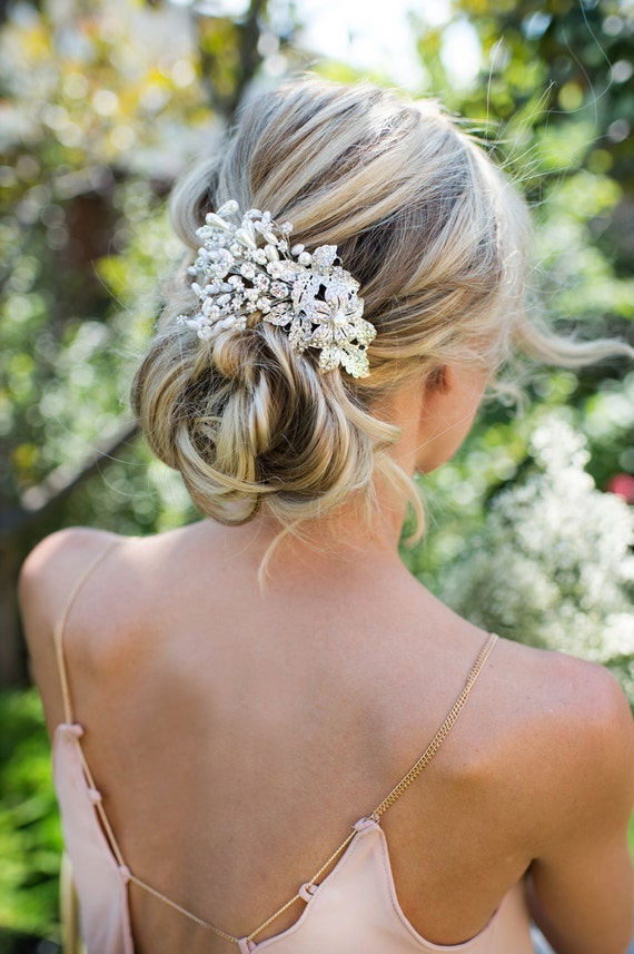 wedding hair flower clips vintage style flower leaf pearl hair comb boho by 9686