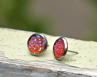 Pink Melon Glitter Stud Earrings, 10mm on Stainless Steel Posts and Bezels
