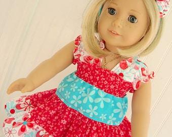 """Doll Twirl Dress Tiered Dress PDF Pattern Juvie Moon Designs  LIDDY DOLL Three Tier Twirl Dress for 18"""" Dolls"""