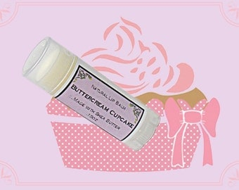BUTTERCREAM CUPCAKE Lip Balm made with Shea Butter - .15oz Oval Tube